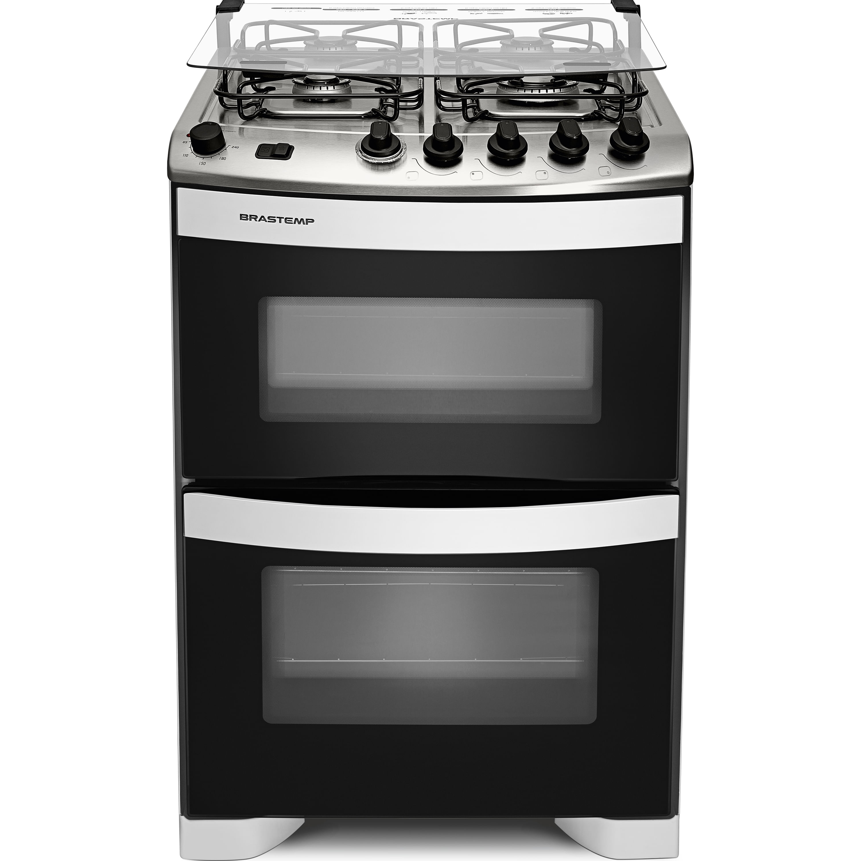 Fogão Brastemp 4 bocas duplo forno Branco com botões removíveis - BFD4NAB