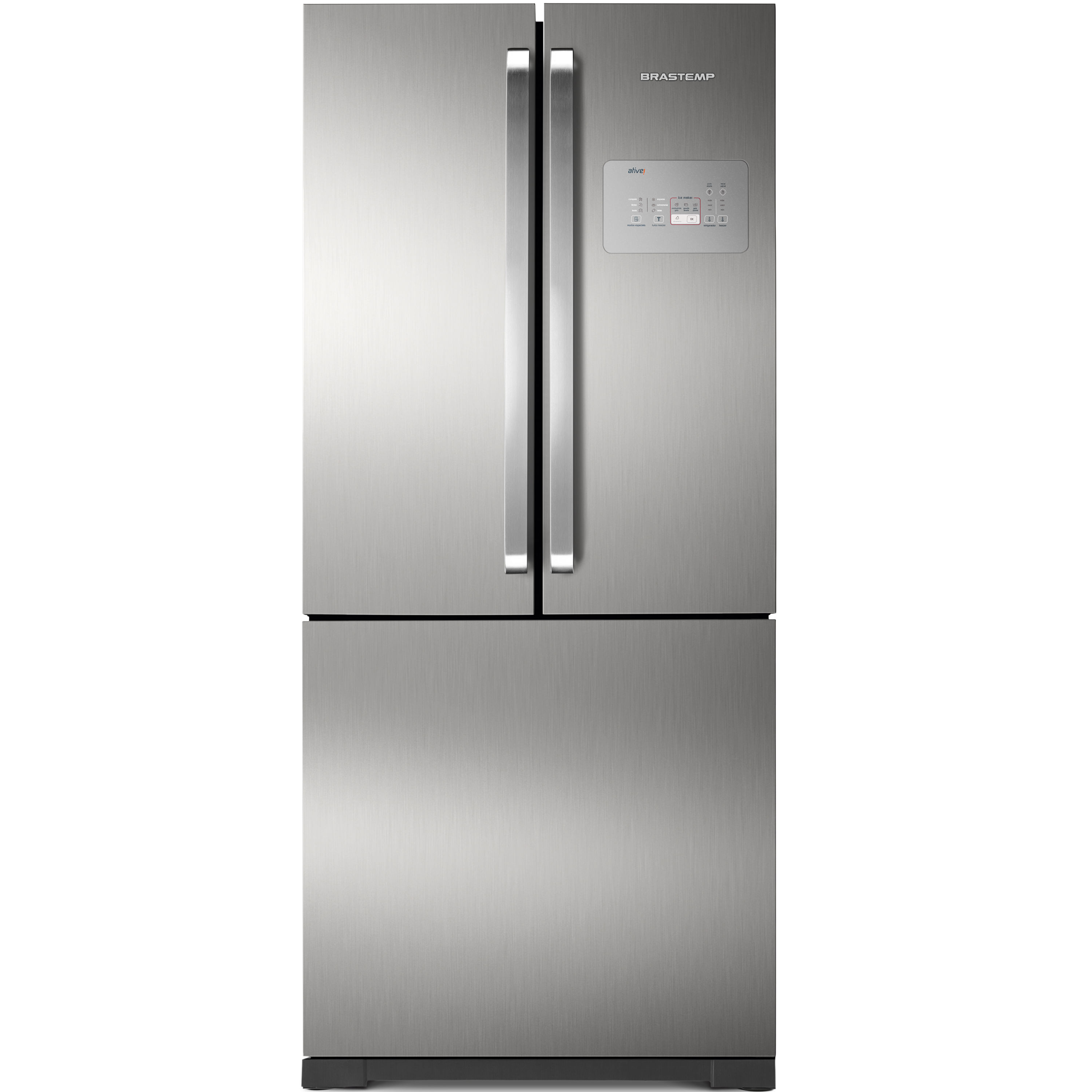 Geladeira Brastemp Frost Free Side Inverse 540 litros cor Inox com Ice Maker - Outlet - BRO80AK_OUT