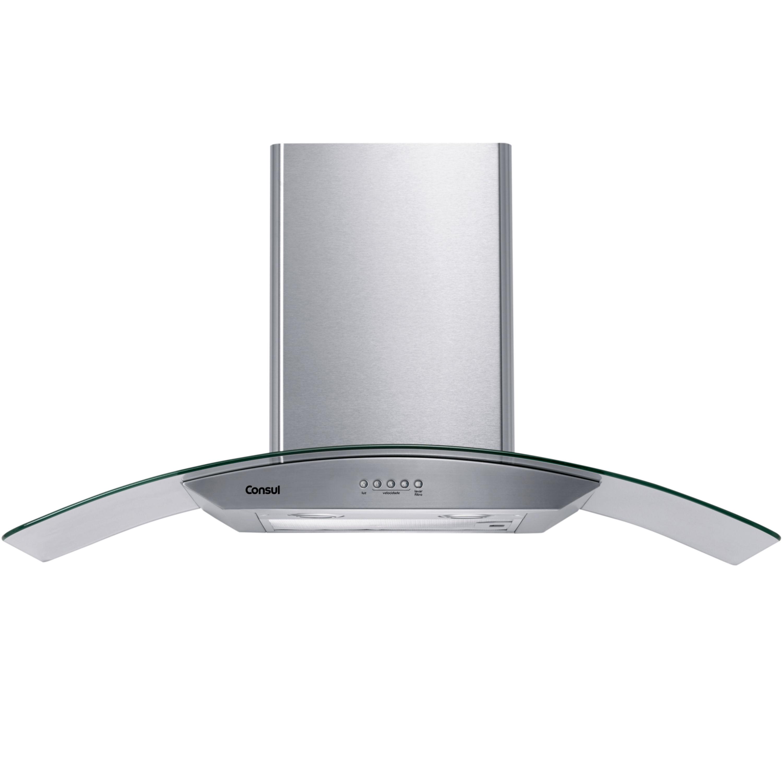 Coifa de Parede Consul 90 cm Inox 5 e 6 bocas com design em vidro e aviso lavar filtro - CAP90AR