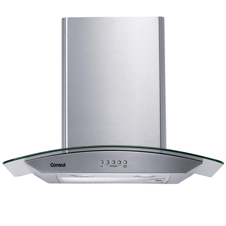 Coifa de Parede Consul 60 cm Inox 4 bocas com design em vidro e aviso lavar filtro - Outlet - CAP60AR_OUT