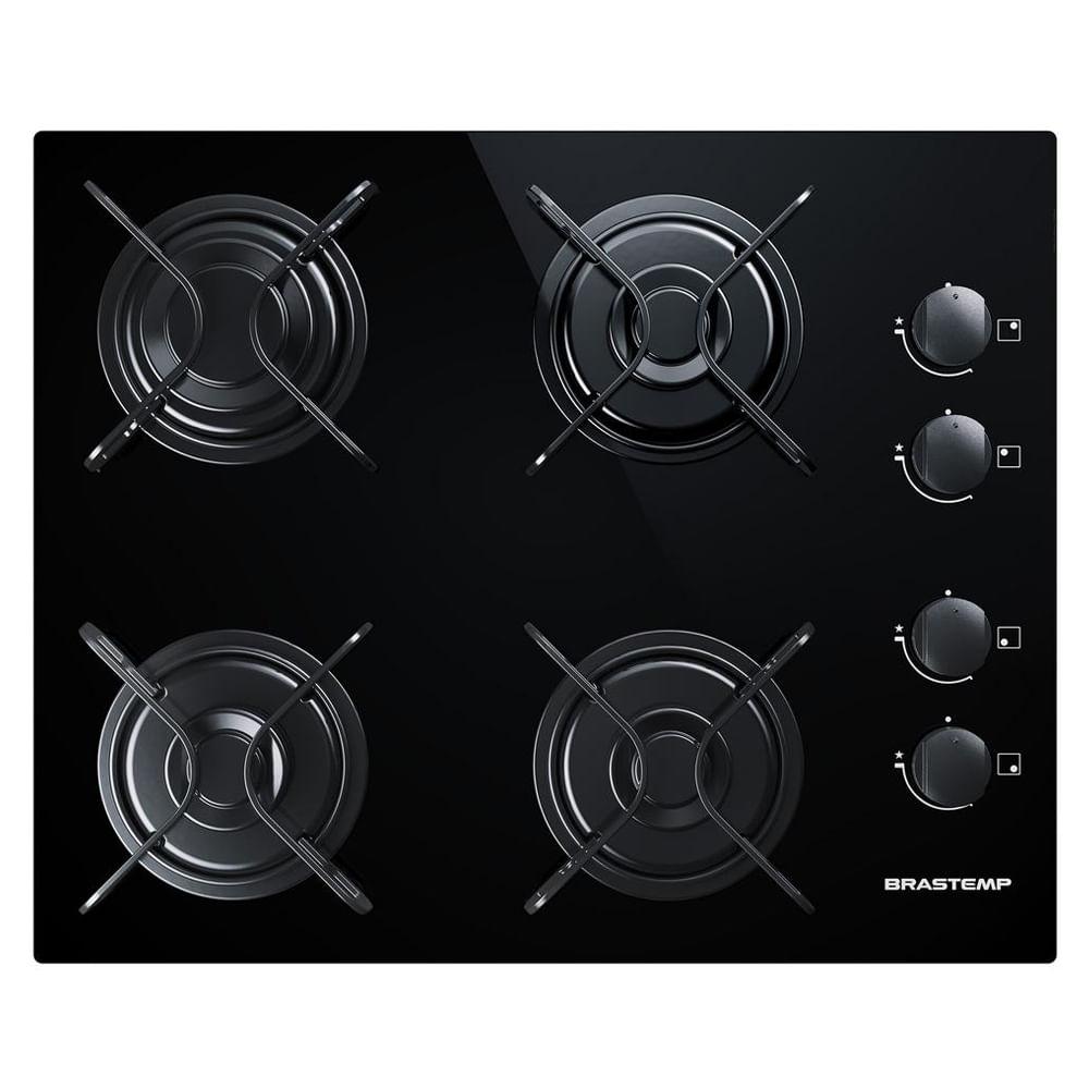 Cooktop 4 bocas Brastemp com grades piatina e acendimento automático - BDD61AE