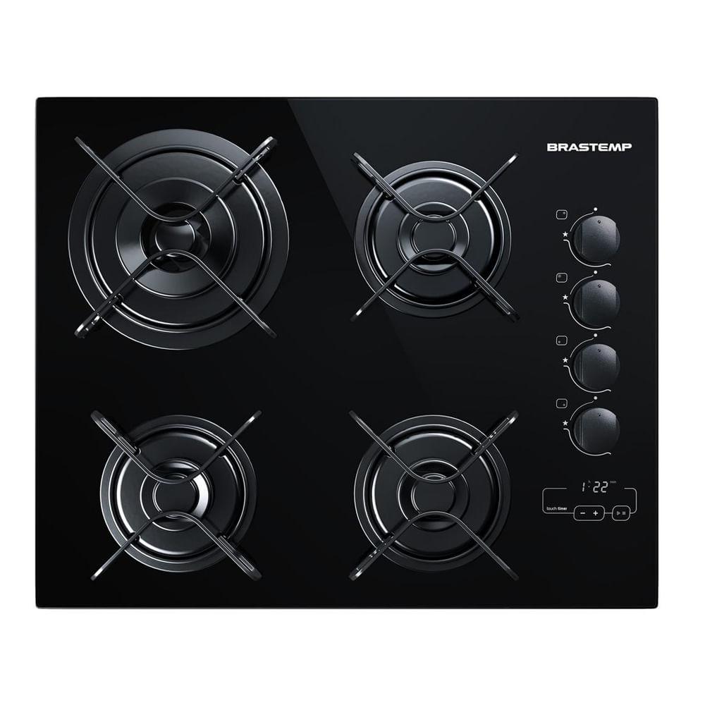 Cooktop 4 bocas Brastemp com duplachama e timer touch - BDT62AE