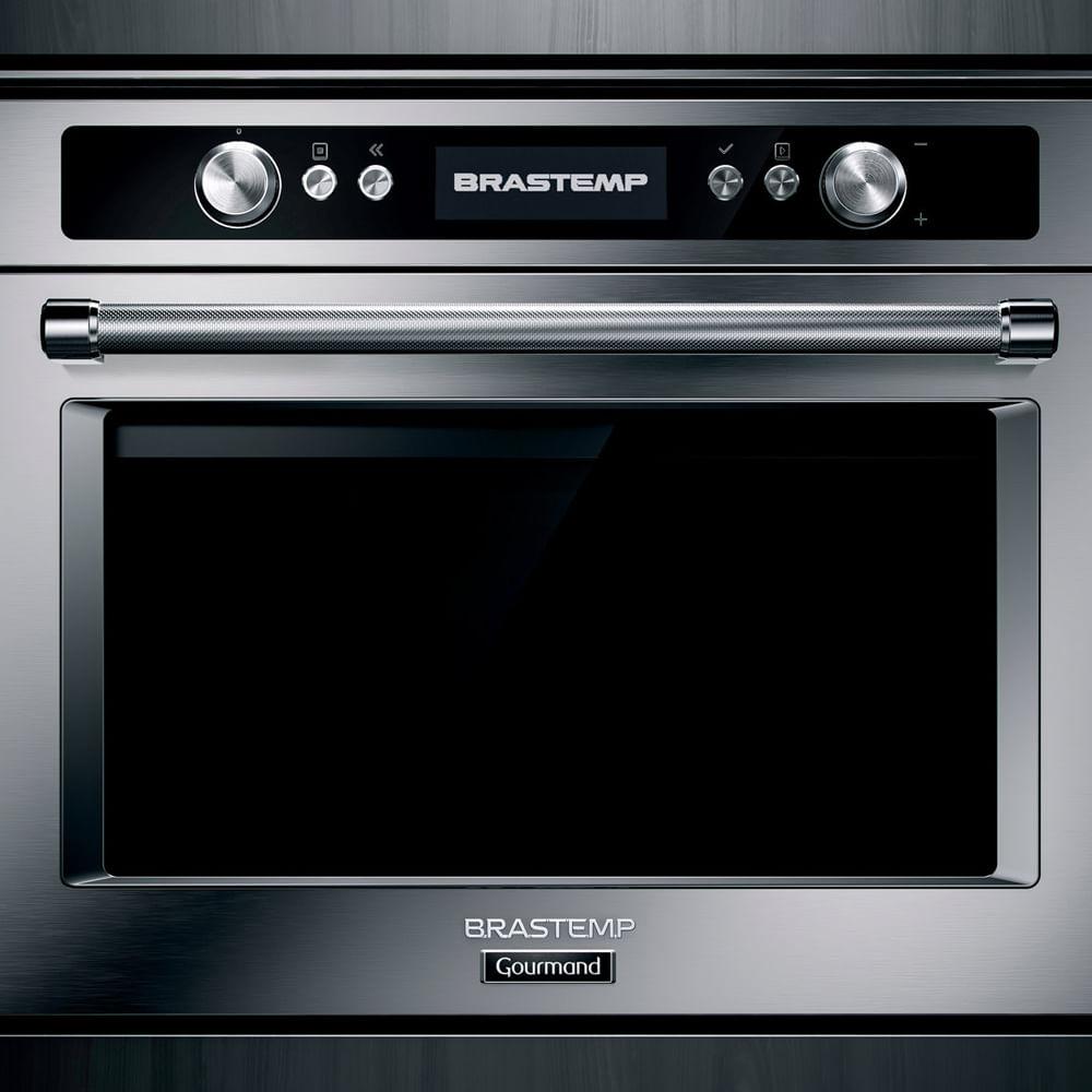 Micro-ondas de embutir Brastemp Gourmand 40 litros inox com Sistema 3D e Sensor Cooking - BMO45AR