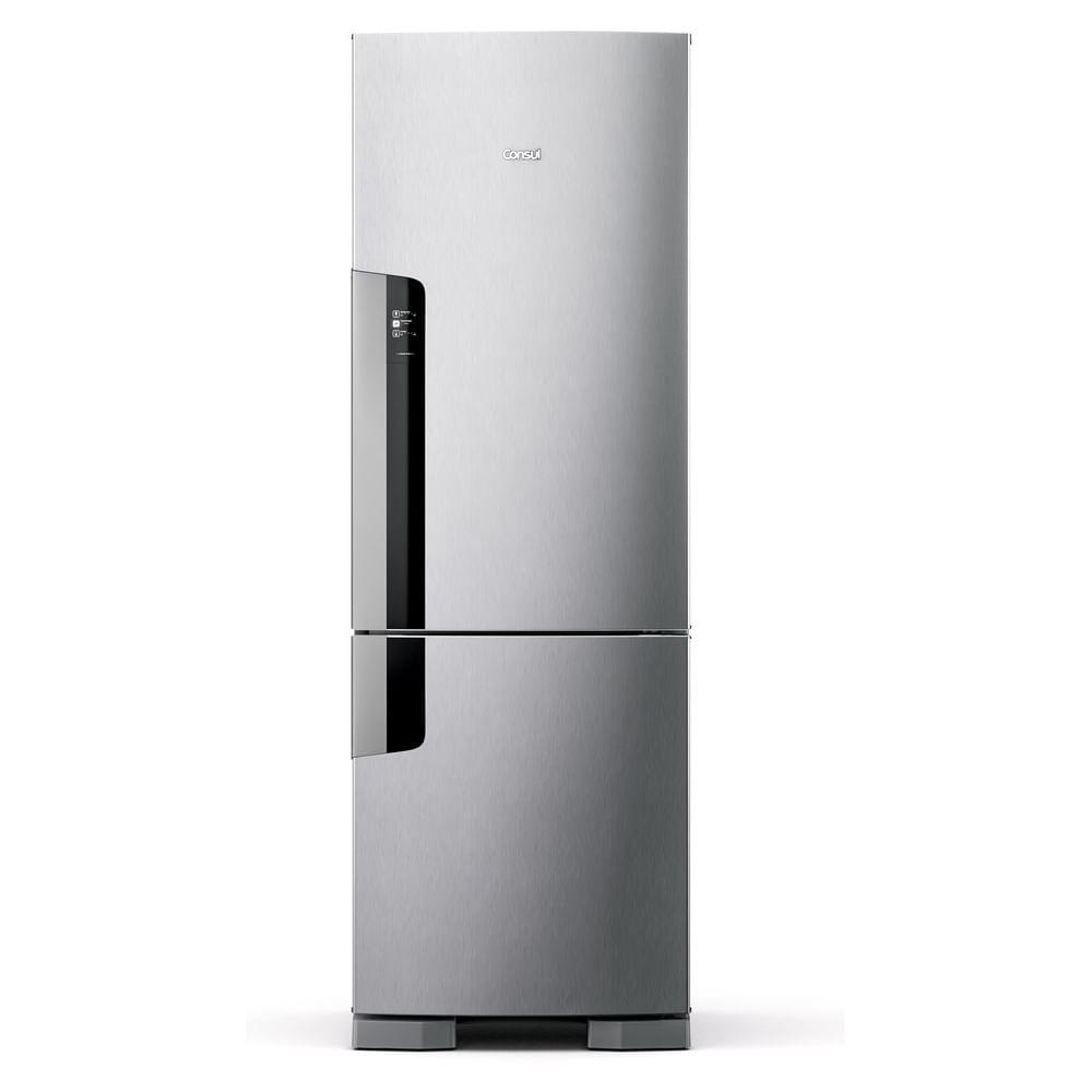 Geladeira Consul Frost Free Duplex 397 litros Evox com freezer embaixo - CRE44AK