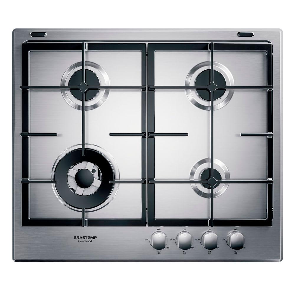 Cooktop 4 bocas Brastemp Gourmand Inox com duplachama e trempe com ferro fundido - Outlet - BDK60DR_OUT