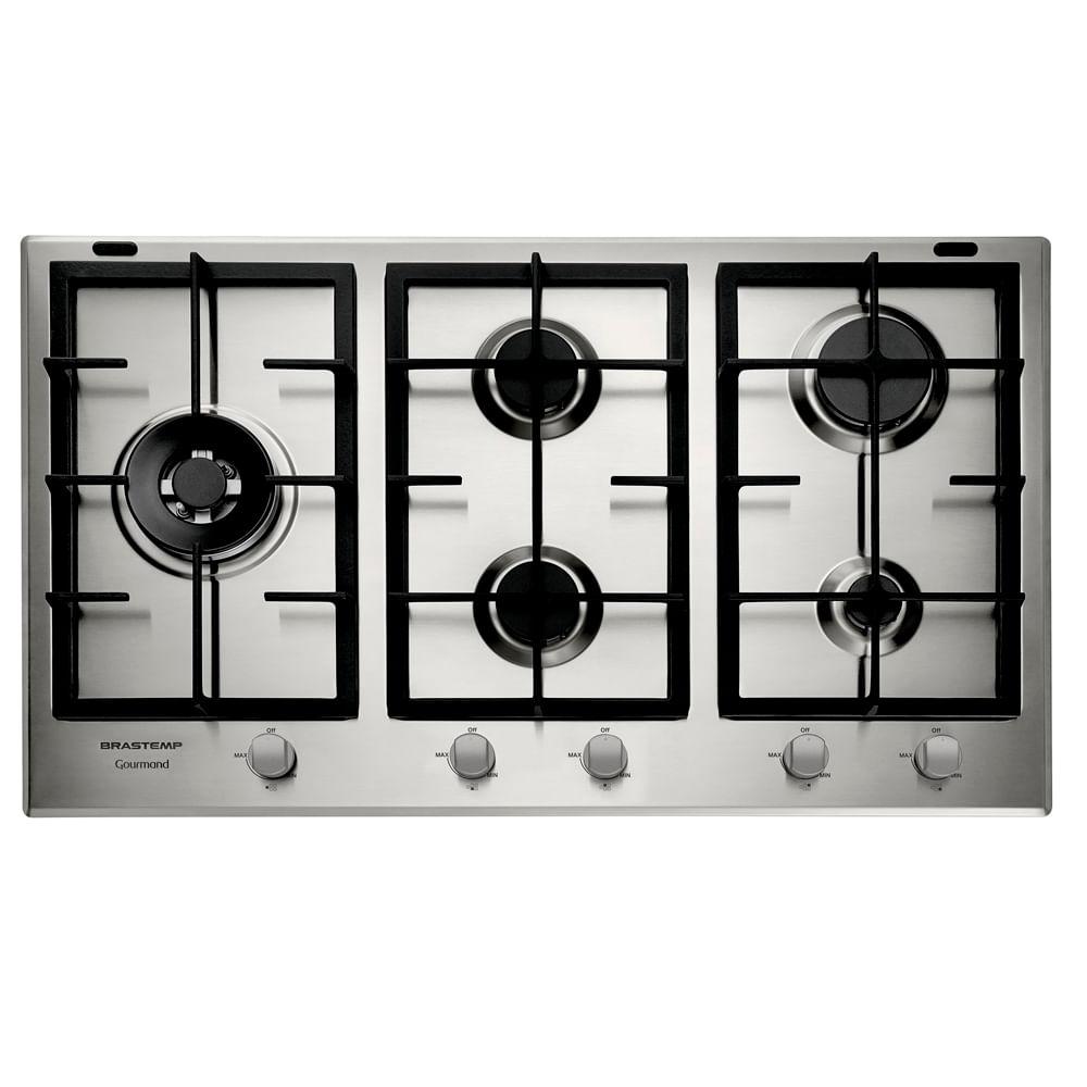 Cooktop 5 bocas Brastemp Gourmand Inox com duplachama e trempe com ferro fundido - BDK90DR