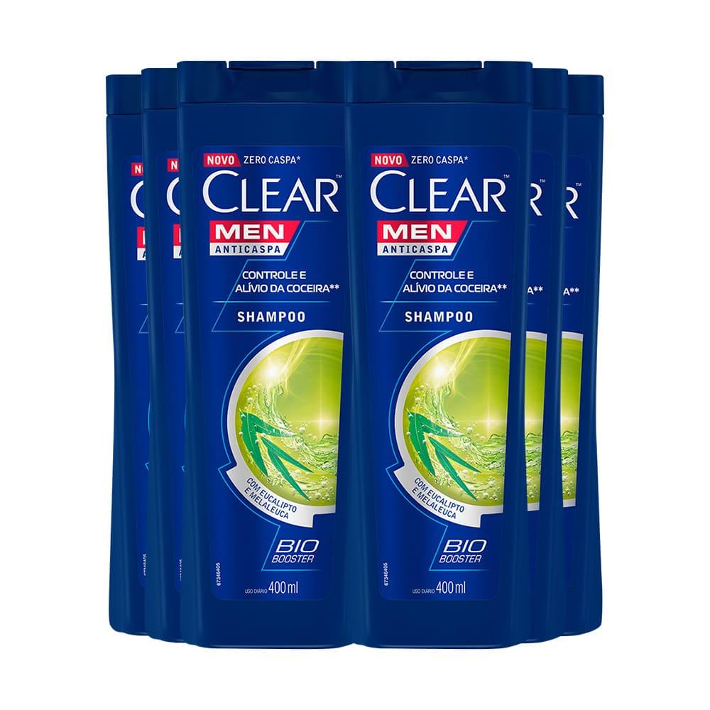 Kit com 6 uni do Shampoo Anticaspa Clear Men Controle e Alívio da Coceira 400ml