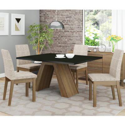 Conjunto Sala de Jantar Madesa Liz Mesa Tampo de Madeira com 4 Cadeiras Rustic/Preto/Fendi