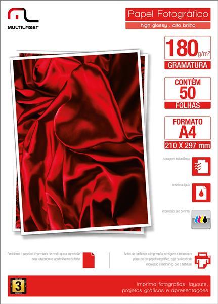 Papel Glossy Paper Multilaser A4 180G C/ 50 Folhas Branco - PE031