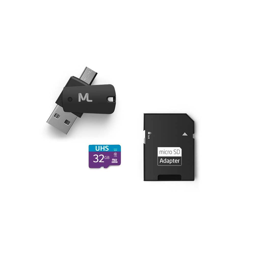 Kit 4 em 1 Cartão De Memória Ultra High Speed-I + Adaptador USB Dual Drive + Adaptador SD 32GB até 80 Mb/S De Velocidade Multilaser - MC151