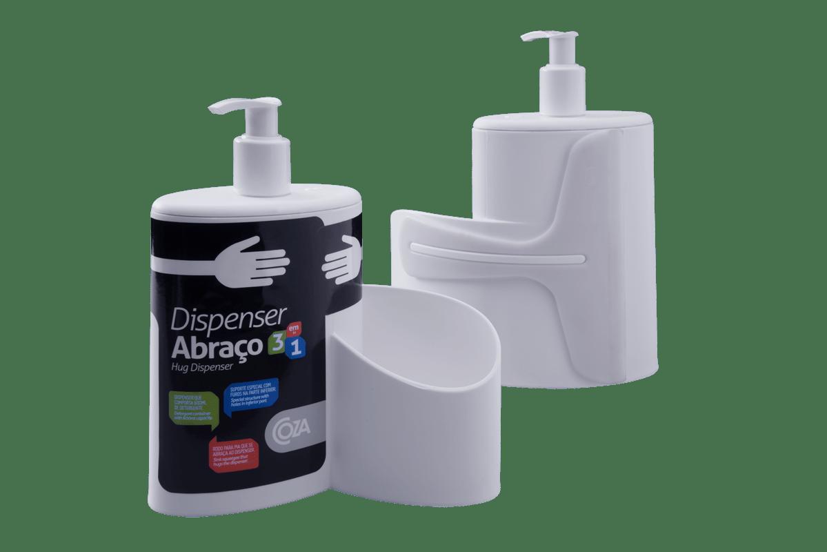 Dispenser Abraço Basic  19,7 x 8,5 x 16,6 cm 600 ml Branco Coza