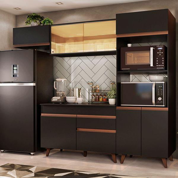 Cozinha Completa Madesa Reims 260001 com Armário e Balcão Preto