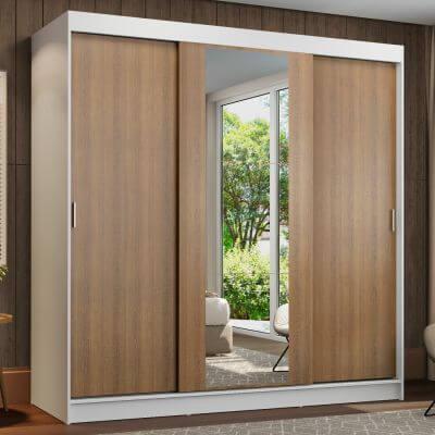 Guarda-Roupa Casal Madesa Reno 3 Portas de Correr com Espelho Branco/Rustic
