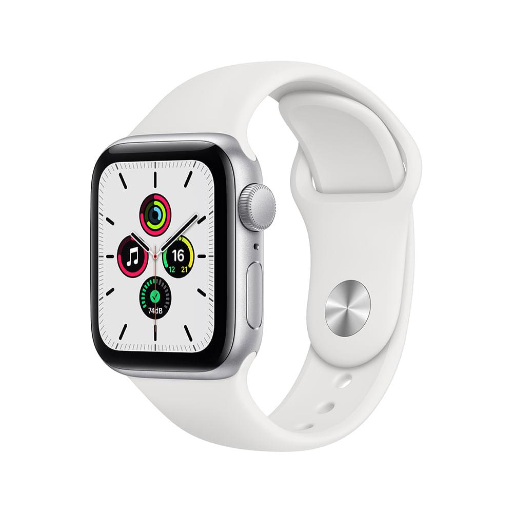 Apple Watch SE (GPS) 44mm caixa prateada de alumínio com pulseira esportiva branca