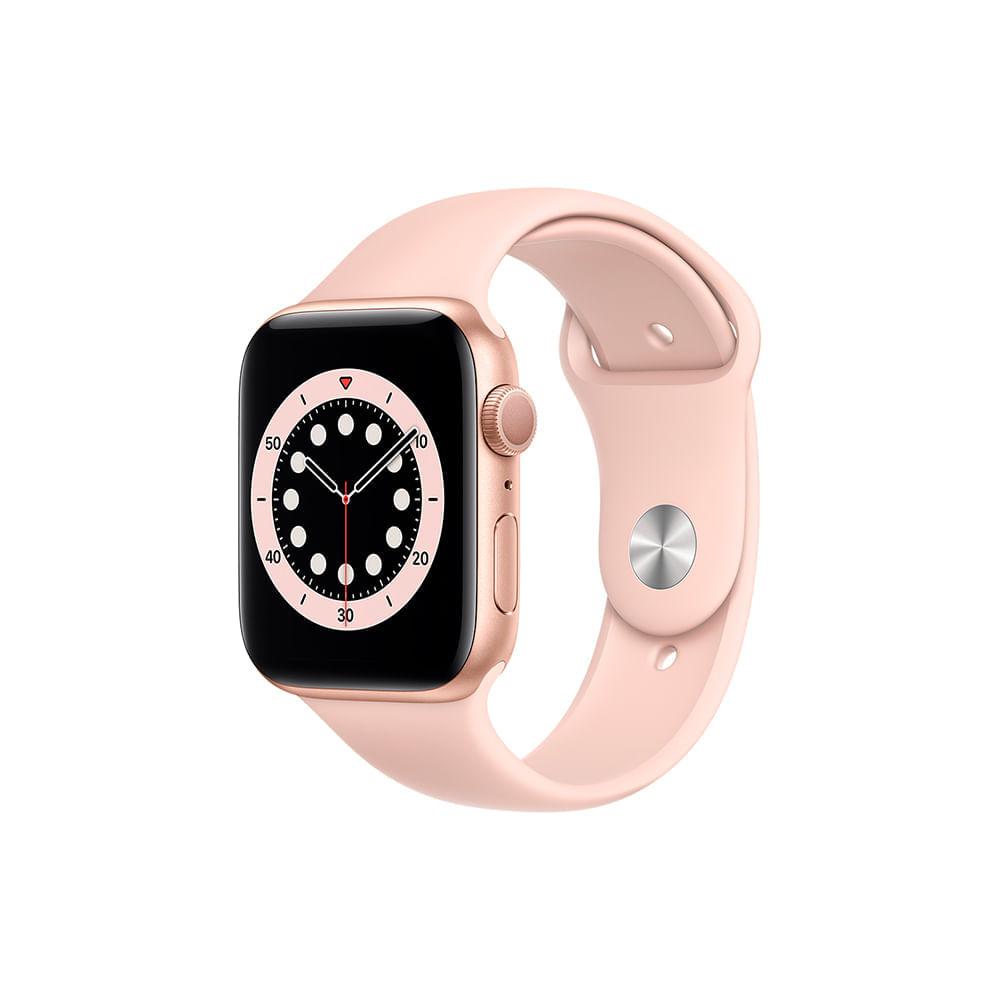 Apple Watch Series 6 (GPS) 44mm caixa dourada de alumínio com pulseira esportiva areia-rosa