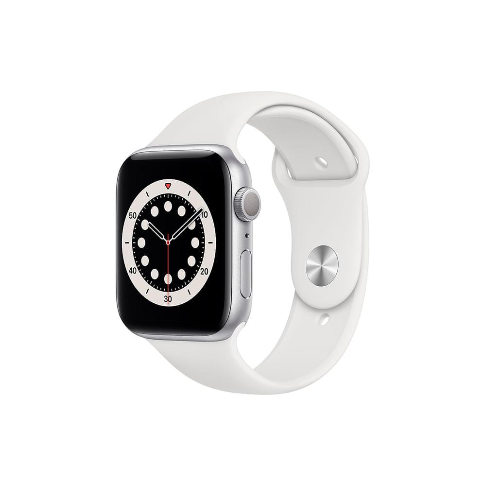 Apple Watch Series 6 (GPS) 44mm caixa prateada de alumínio com pulseira esportiva branca