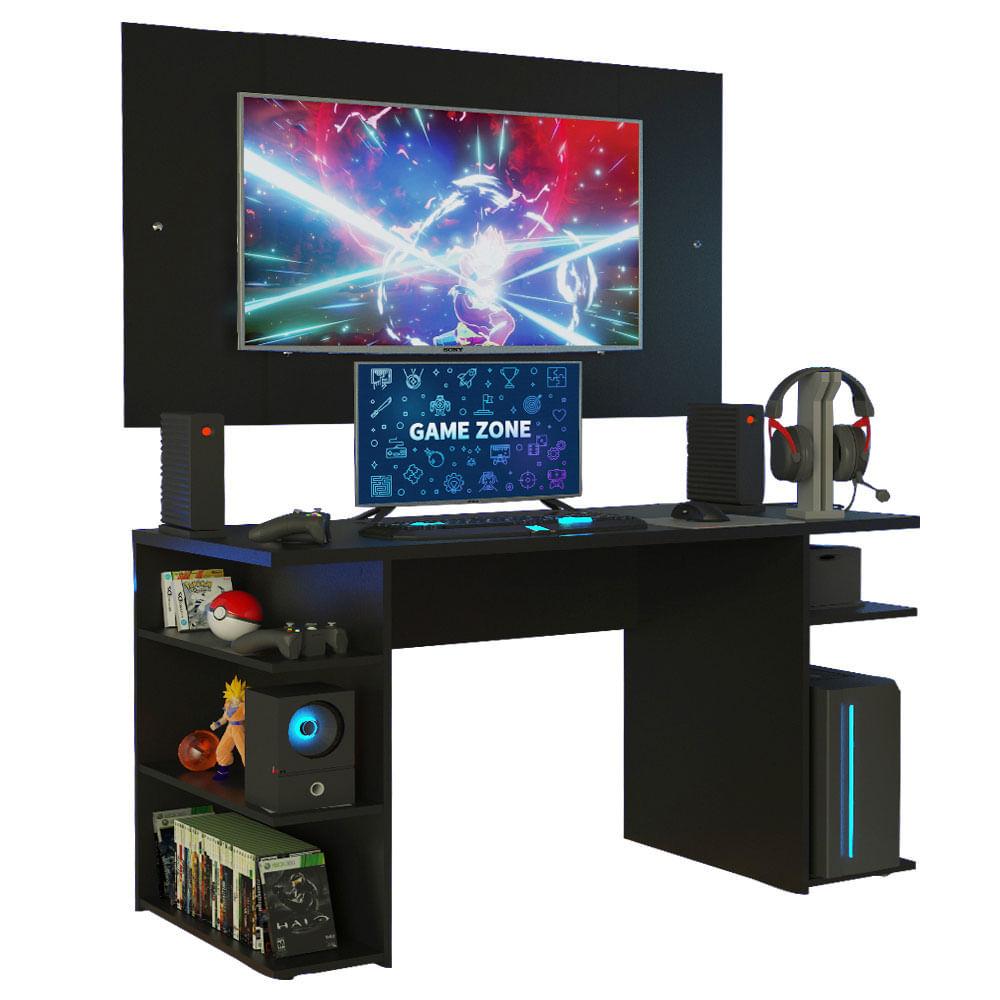 Mesa Gamer Madesa 9409 e Painel para TV até 58 Polegadas Preto