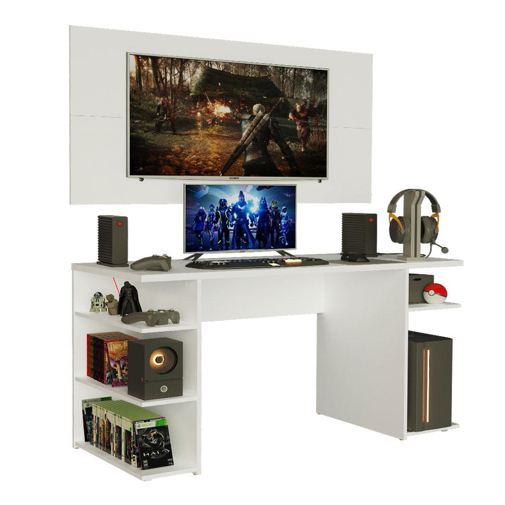 Mesa Gamer Madesa 9409 e Painel para TV até 50 Polegadas Branco