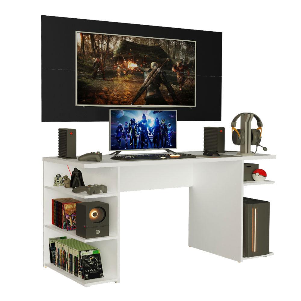 Mesa Gamer Madesa 9409 e Painel para TV até 50 Polegadas Branco/Preto