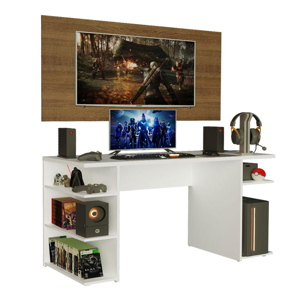 Mesa Gamer Madesa 9409 e Painel para TV até 50 Polegadas Branco/Rustic