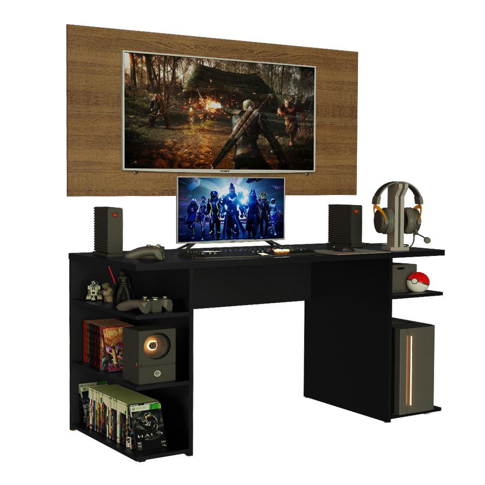 Mesa Gamer Madesa 9409 e Painel para TV até 50 Polegadas Preto/Rustic