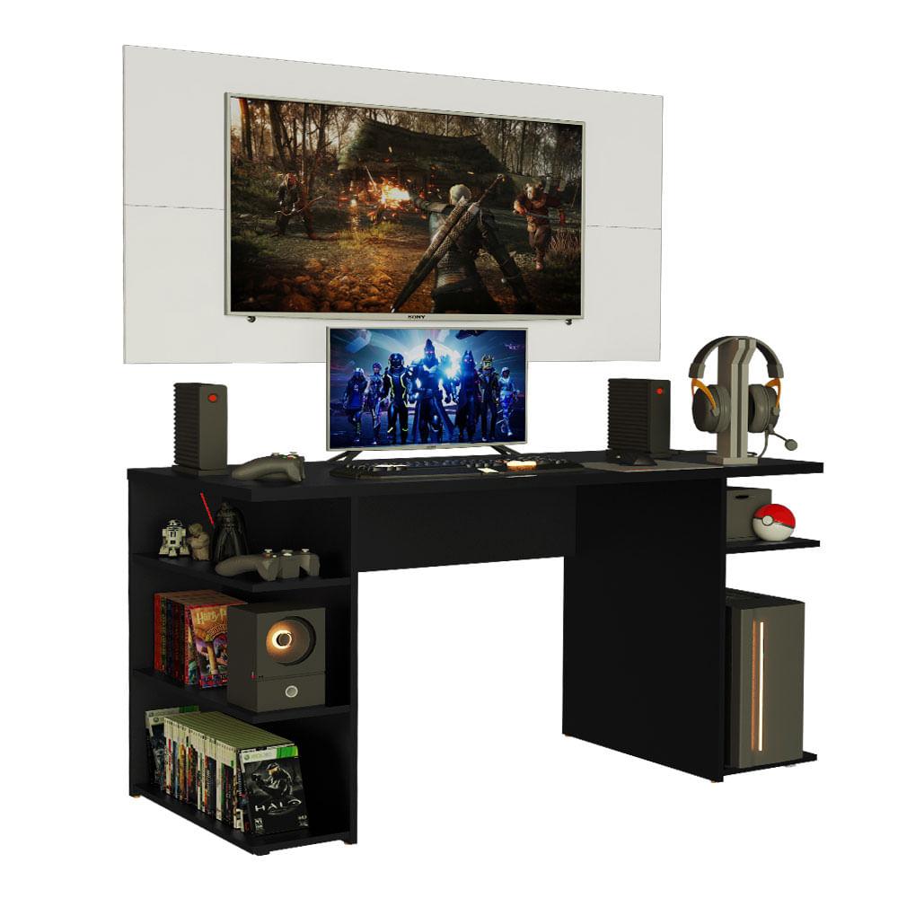 Mesa Gamer Madesa 9409 e Painel para TV até 50 Polegadas Preto/Branco