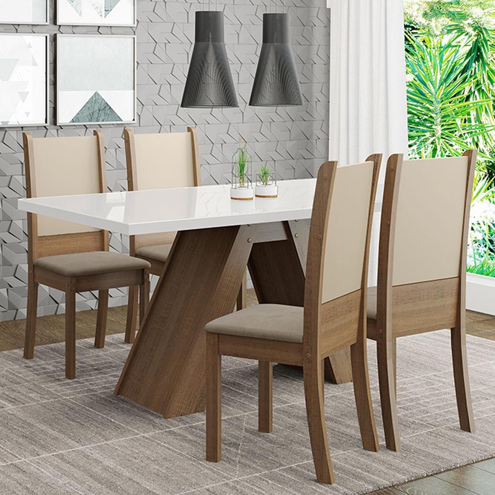 Conjunto Sala de Jantar Madesa Dafne Mesa Tampo de Vidro com 4 Cadeiras Rustic/Branco/Crema/Bege