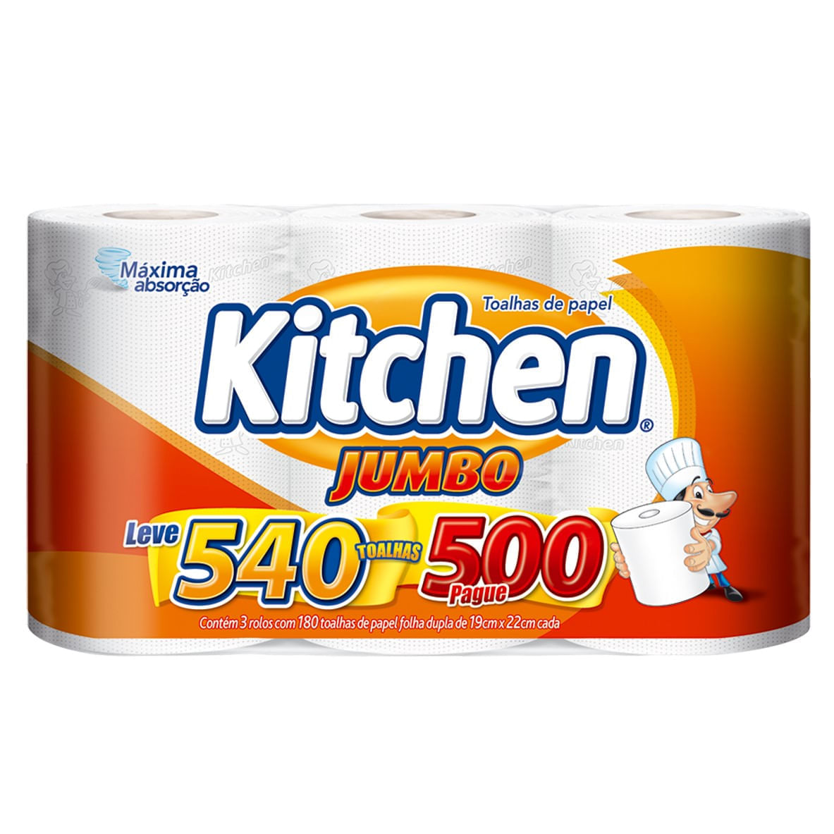 Papel Toalha Folha Dupla Kitchen Jumbo 540 Folhas Promoção