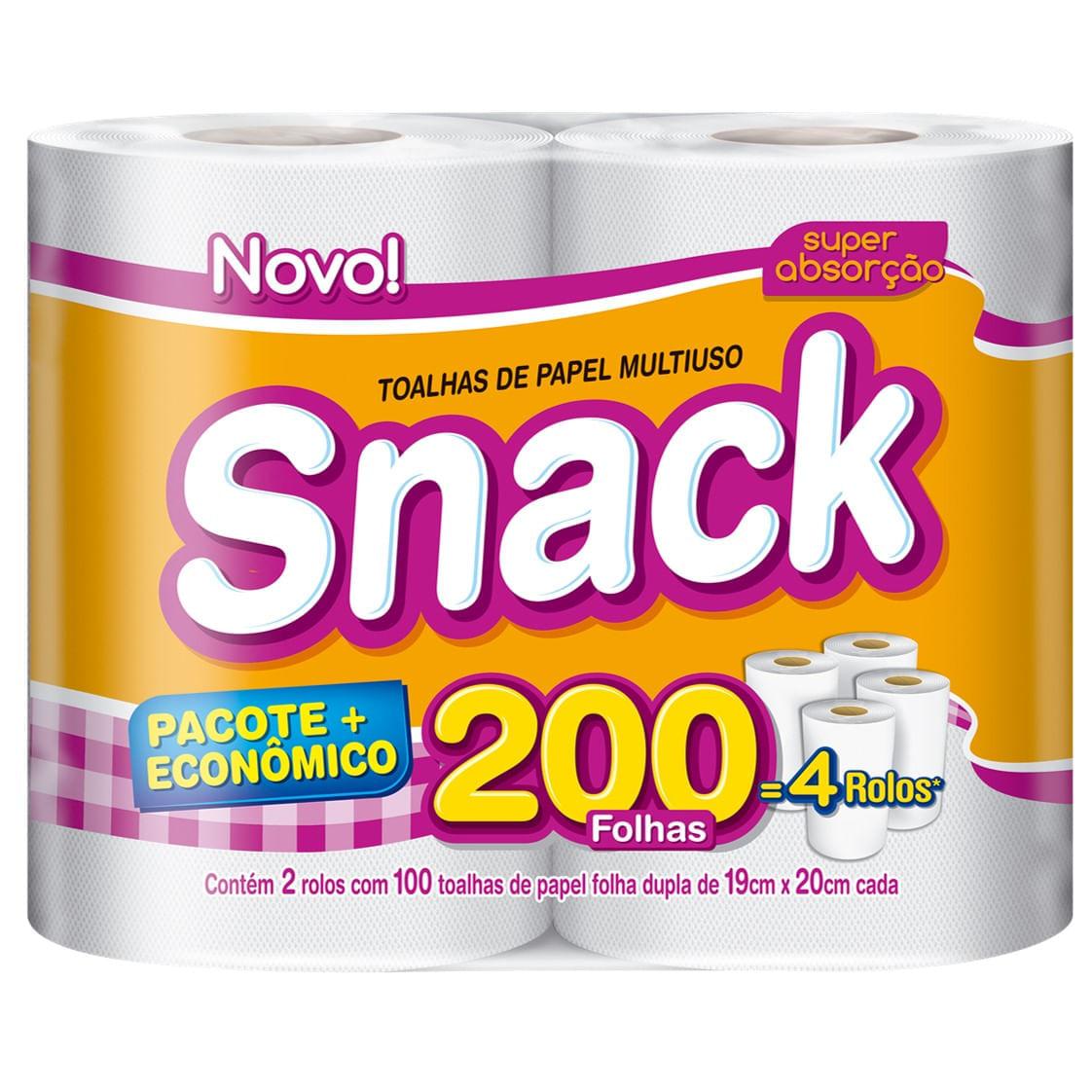 Papel Toalha Folha Dupla Snack 200 Folhas