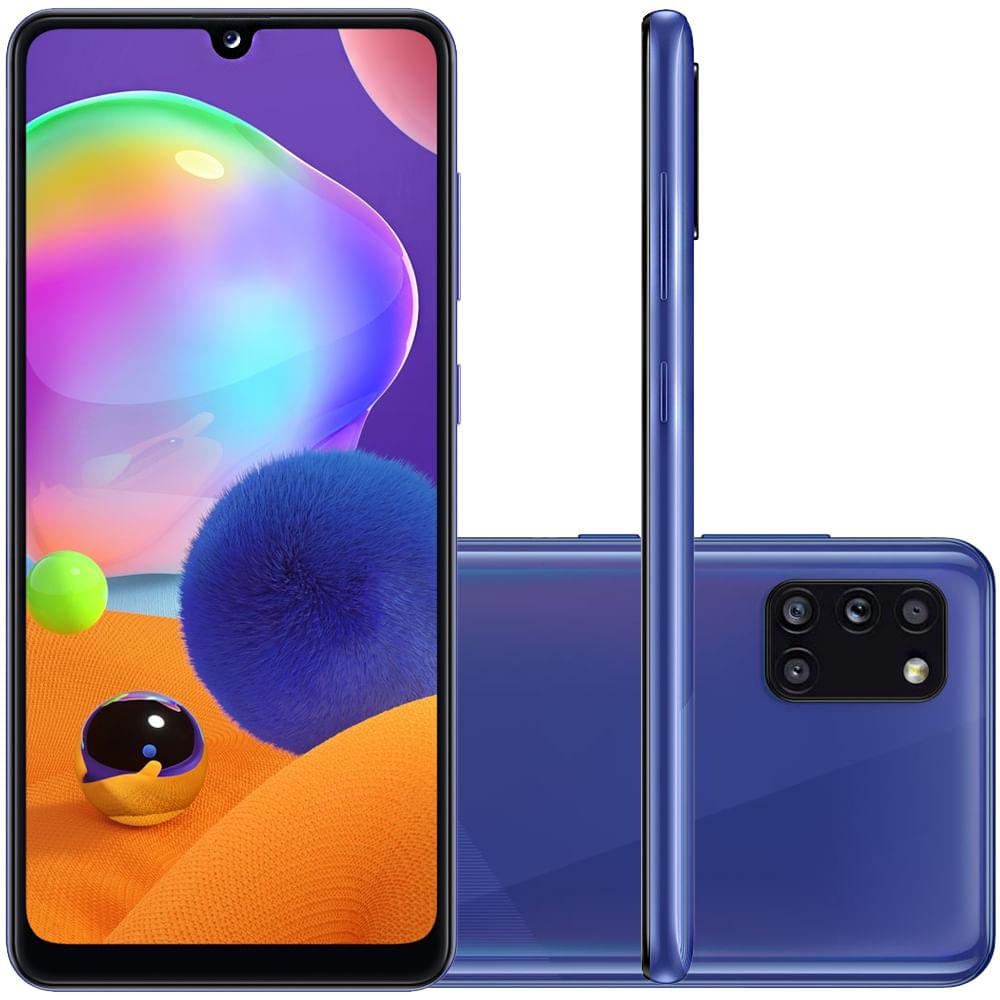 "Celular Samsung Galaxy A31 Azul 128GB Tela 6.4"" 4GB RAM Câmera Quádrupla 48MP + 8MP + 5MP + 5MP"