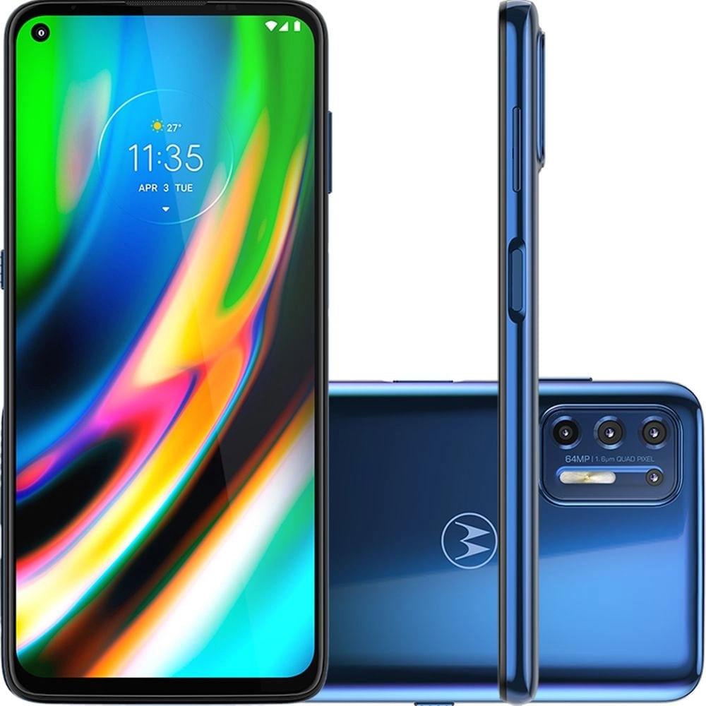 """Smartphone Moto G9 Plus 128GB Android 10 Tela 6.8"""" Câmera Quadrupla 64MP + 8MP+ 2MP + 2MP- Azul Índigo"""