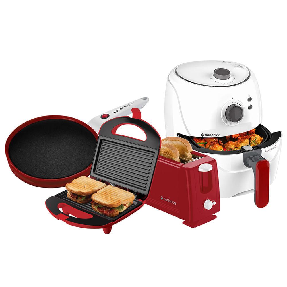 Kit Cadence Colors Vermelho e Branco Cook Fryer e Creps