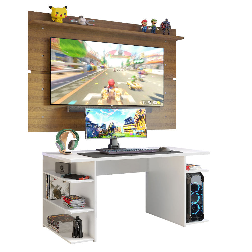 Mesa Gamer Madesa 9409 e Painel para TV até 65 Polegadas Branco/Rustic