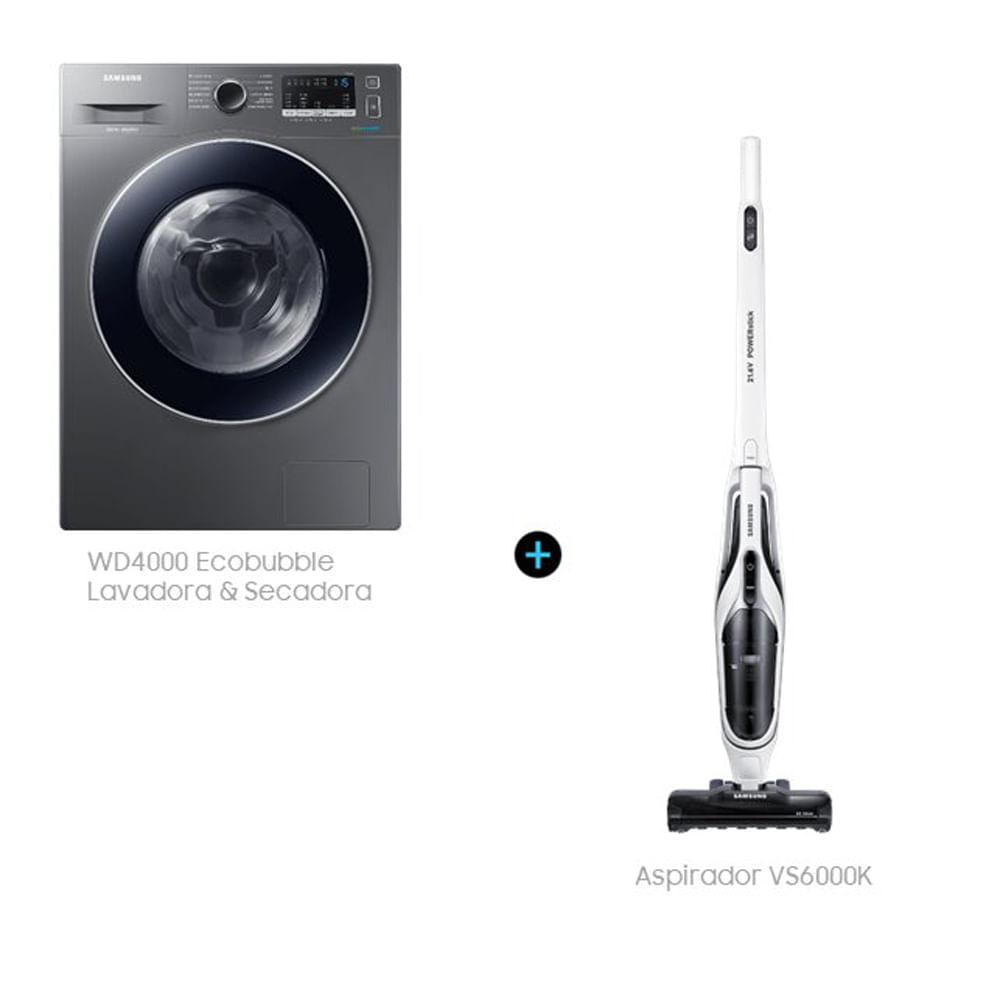 Lava e Seca 3 em 1 WD4000 11.7 kg Inox Look (110V) + Aspirador de Pó 2 em 1 Sem Fio (Bivolt)