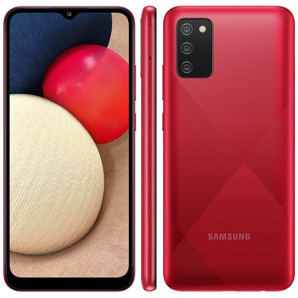 """Smartphone Samsung Galaxy A02s 32GB, Tela Infinita de 6.5"""", Câmera Tripla, bateria 5000mAh, 3GB RAM e Processador Octa-Core Vermelho"""