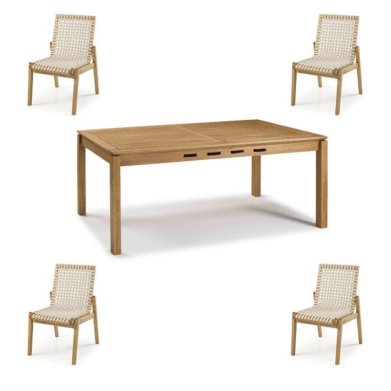 Conjunto Trama Mesa 220cm + Cadeiras Corda Areia - 60501