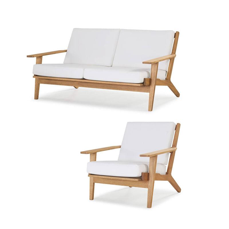 Conjunto Buriti Stain Jatoba Sofa + Poltrona Estofado Branco - 60506