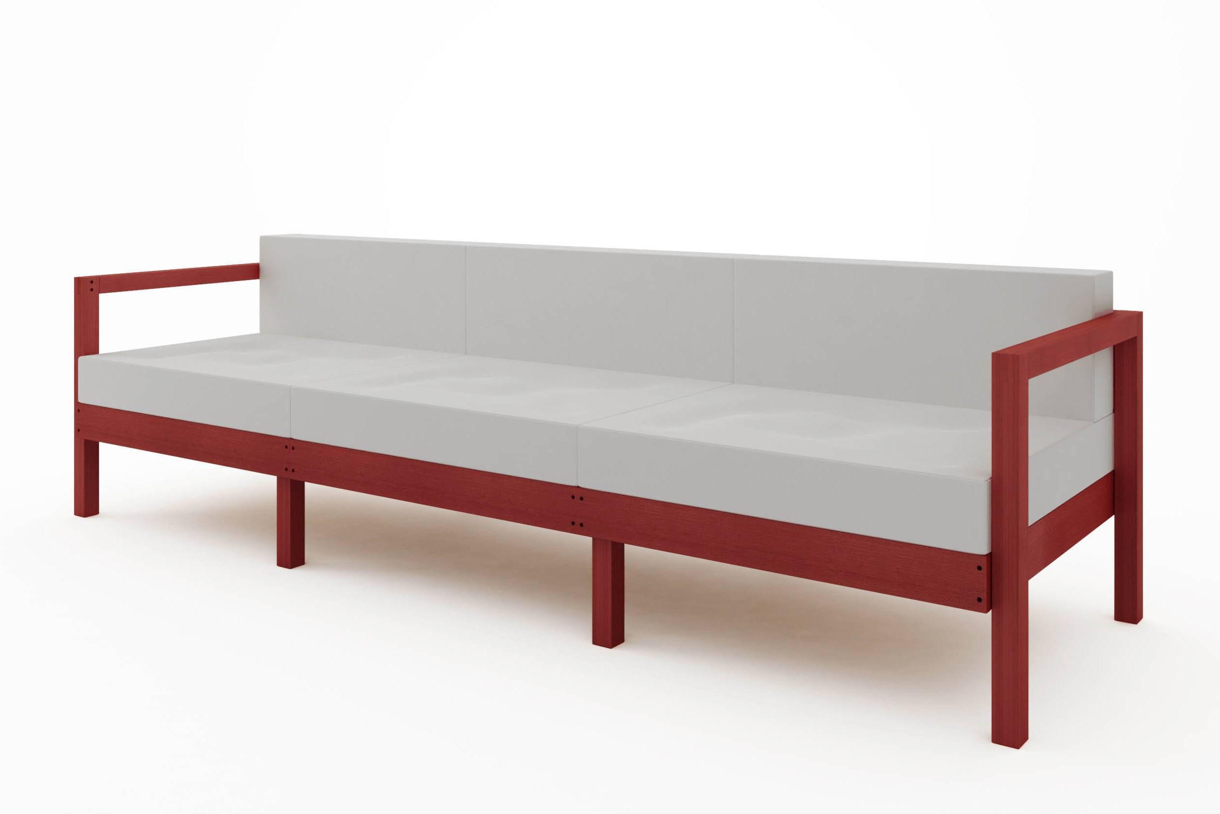 Sofa Componivel Lazy 3 Lugares Estrutura Vermelha + Almofadas 249cm - 61393