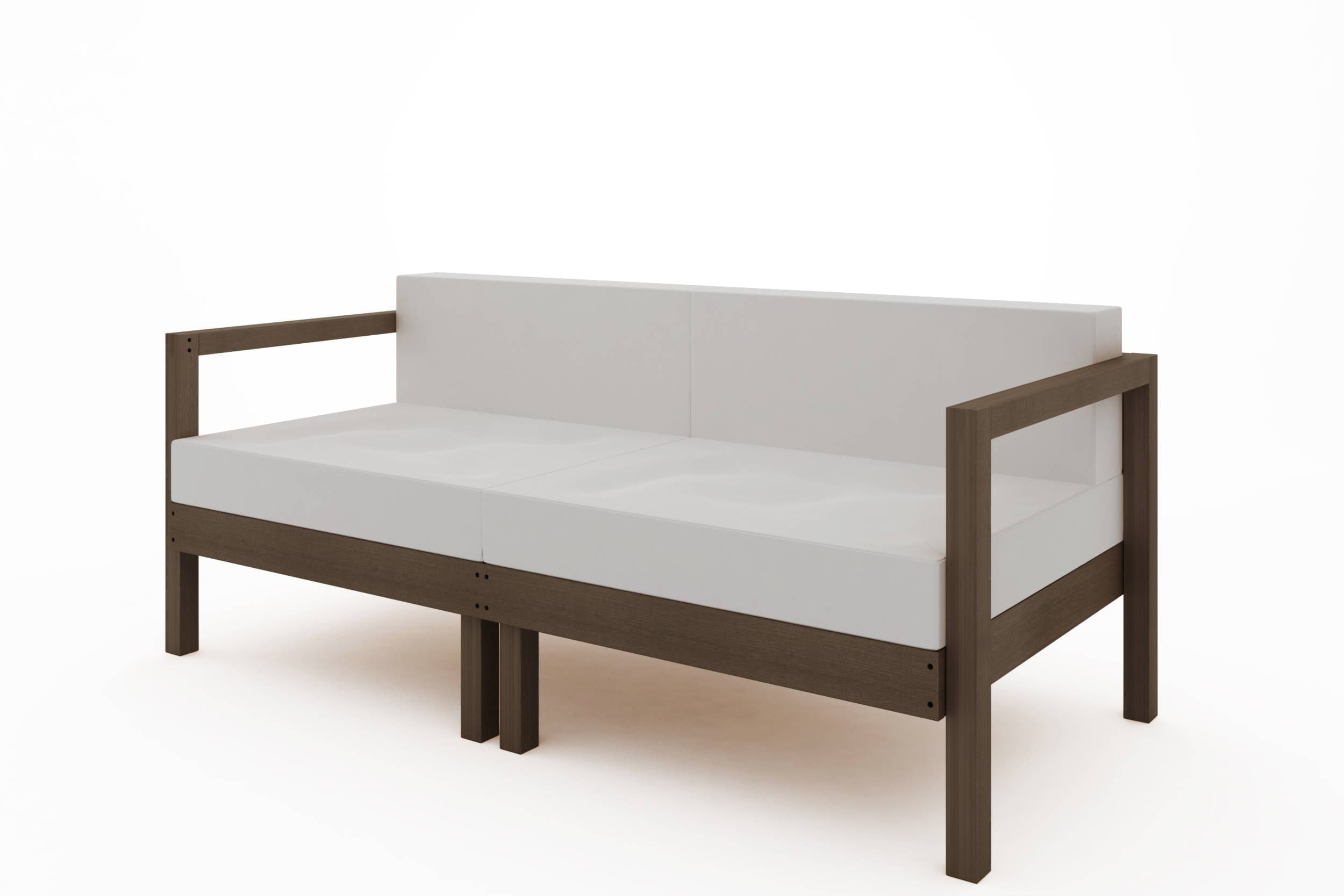 Sofa Componivel Lazy 2 Lugares Estrutura Nogueira + Almofadas 169cm - 61386