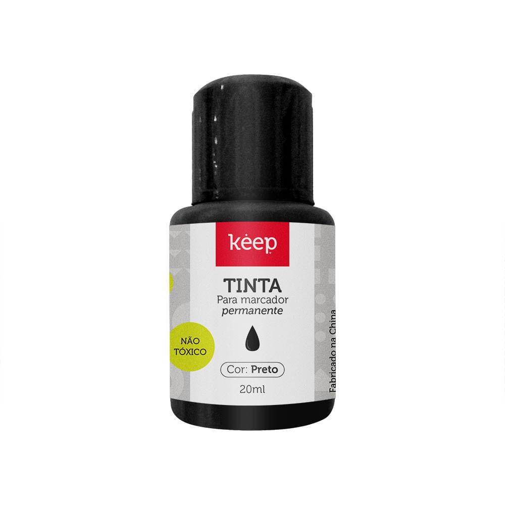 Tinta Reabastecedora p/ Marcador Permanente 20ml Preto - Caixa c/ 12un Keep - MR045