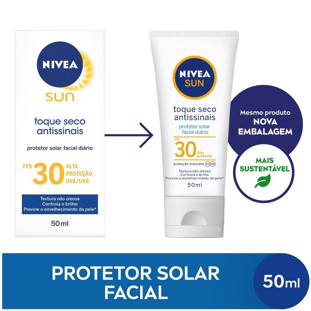 NIVEA SUN Protetor Solar Facial Toque Seco Antissinais FPS30 50ml