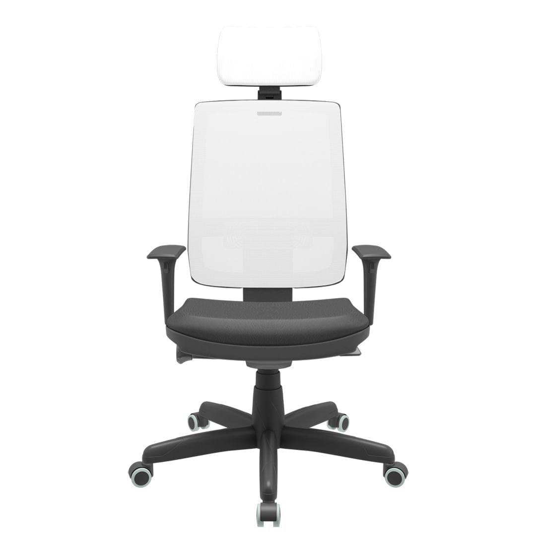 Cadeira Office Brizza Tela Branca Com Encosto Assento Vinil Preto Autocompensador Base Standard 126cm - 63434