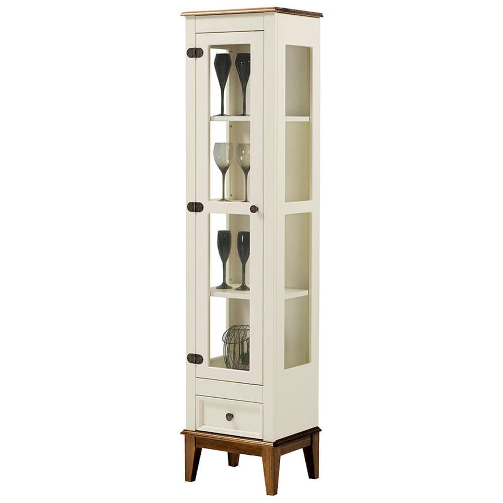 Cristaleira Remy 1 Porta e 1 Gaveta cor Off White com Amendoa 180 cm - 63353