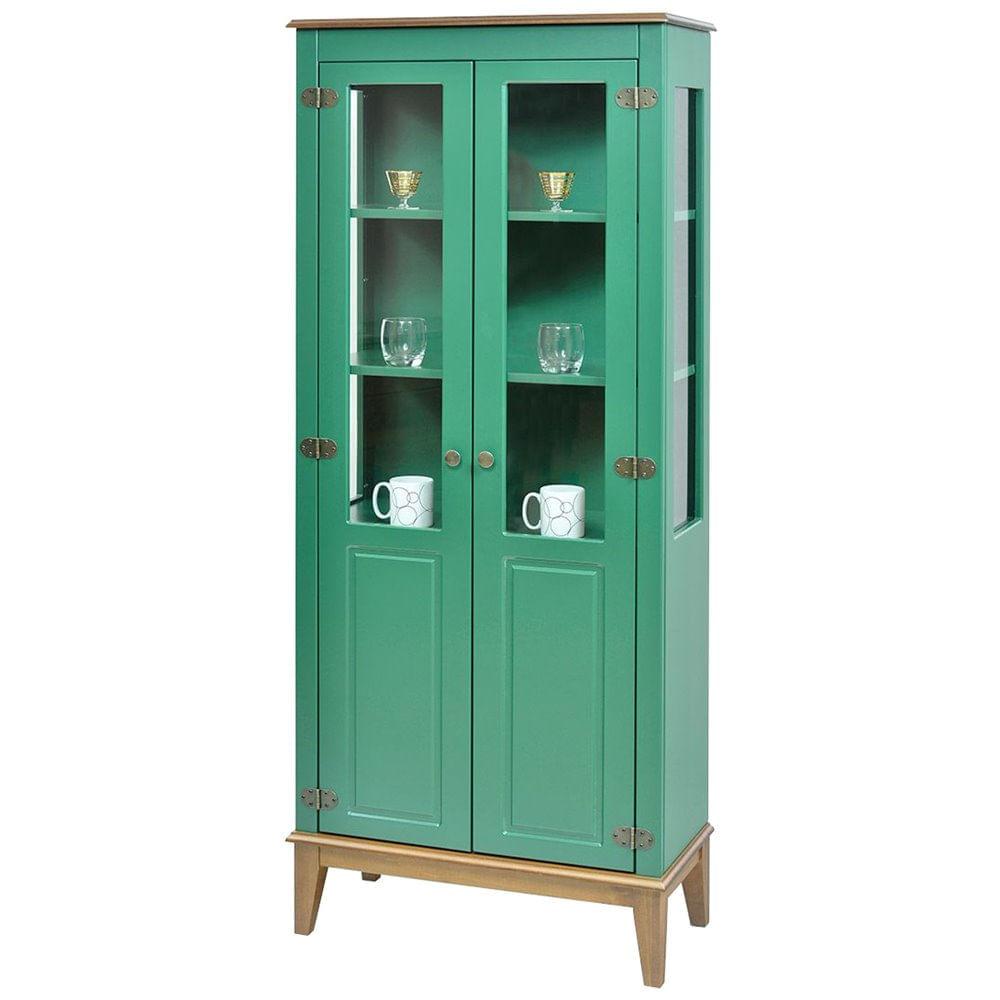 Cristaleira Laura 2 Portas cor Verde com Amendoa 180 cm - 63392