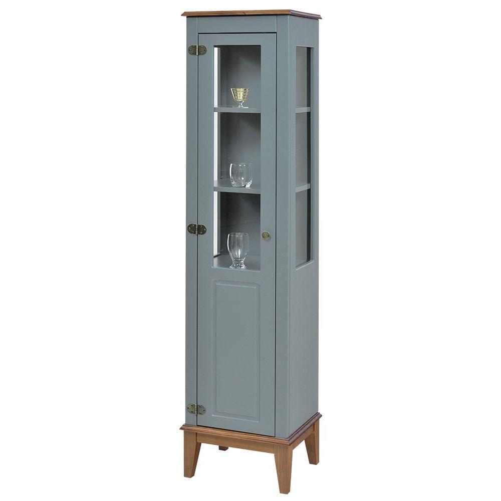 Cristaleira Laura 1 Porta cor Cinza com Amendoa 180 cm - 63427